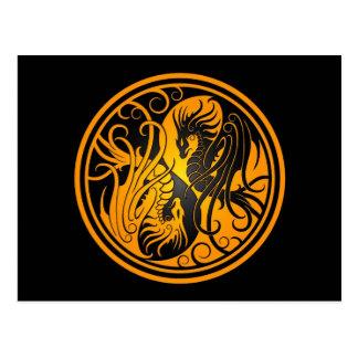 Flying Yin Yang Dragons - yellow and black Postcard
