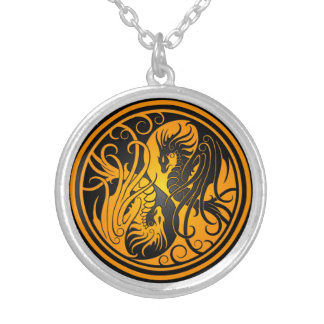 Flying Yin Yang Dragons - yellow and black Silver Plated Necklace