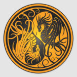 Flying Yin Yang Dragons - yellow and black Classic Round Sticker