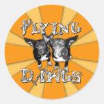 flyingdawgs rainbow orange logo round sticker