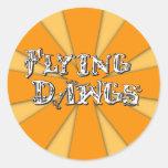 Flyingdawgs rainbow orange logo round stickers