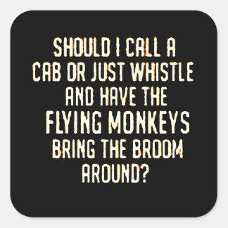 flyingmonkeyswhistle pegatina cuadrada