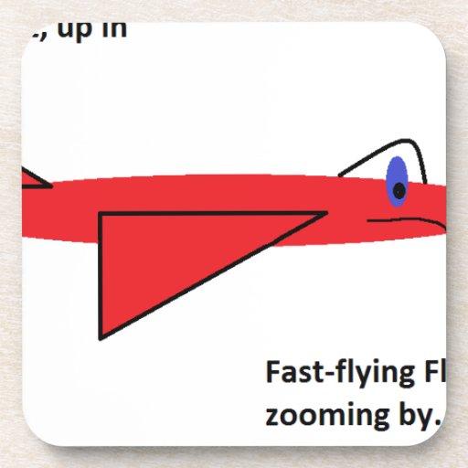 Flynn de vuelo rápido el aeroplano rojo del jet en posavasos