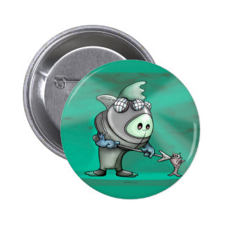 FLYNN FISH CARTOON CUTE FUNNY BUTTON