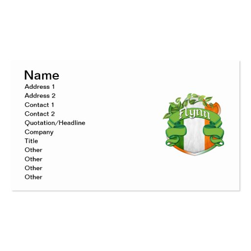 Flynn Irish Shield Double-Sided Standard Business Cards (Pack Of 100)