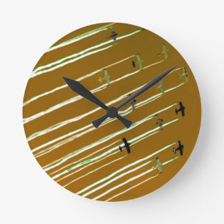 Flyover in Brown, Black and White Round Clock