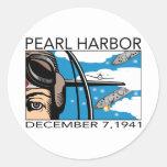 Flyover Pearl Harbor Classic Round Sticker