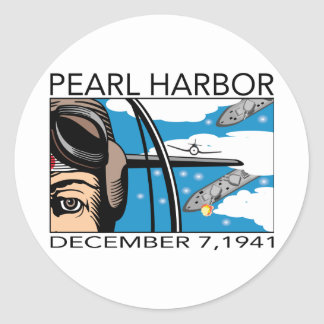 Flyover Pearl Harbor Round Stickers