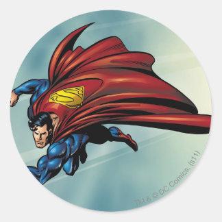 Flys del superhombre con el cabo pegatina redonda