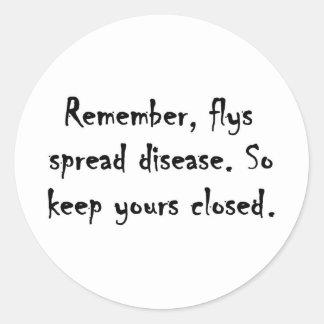 Flys spread disease. classic round sticker