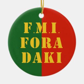 FMI Fora Daqui Double-Sided Ceramic Round Christmas Ornament