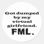 FML Virtual Girlfriend Round Stickers