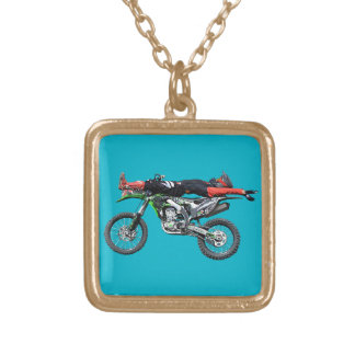 FMX - Freestyle Aerial Motocross Stunt III Gold Plated Necklace