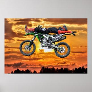 FMX Motocross Dirt-Bike Aerial Stunt and Sunset Poster