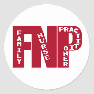 FNP Big Red Family Nurse Practitioner Gifts Classic Round Sticker
