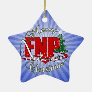 FNP BIGRED MERRY CHRISTMAS FAMILY NURSE PRACTIONER Double-Sided STAR CERAMIC CHRISTMAS ORNAMENT