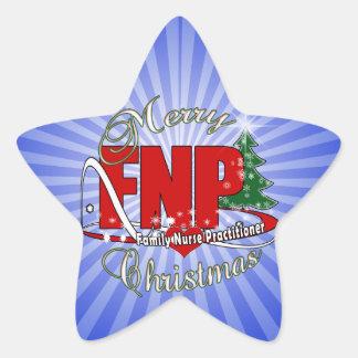 FNP BIGRED MERRY CHRISTMAS FAMILY NURSE PRACTIONER STAR STICKER