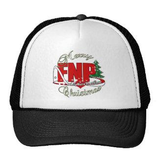 FNP BIGRED MERRY CHRISTMAS FAMILY NURSE PRACTIONER TRUCKER HAT