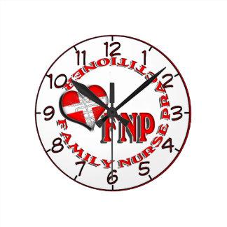 FNP FAMILY NURSE PRACTICIONER MEDICAL LOGO ROUND CLOCK