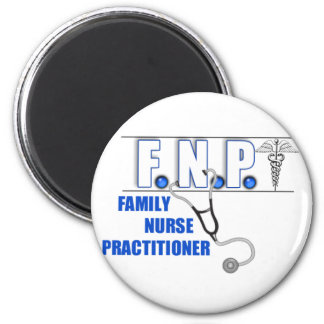 FNP  LOGO  STETHOSCOPE FAMILY NURSE PRACTITIONER 2 INCH ROUND MAGNET