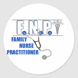 FNP  LOGO  STETHOSCOPE FAMILY NURSE PRACTITIONER CLASSIC ROUND STICKER