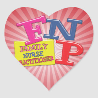 FNP WHIMSICAL ACRONYM FAMILY NURSE PRACTITIONER HEART STICKER