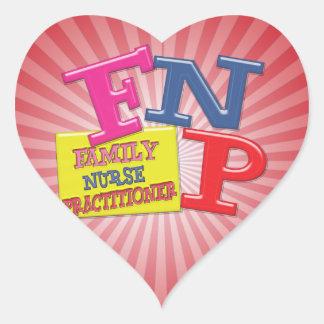 FNP WHIMSICAL ACRONYM FAMILY NURSE PRACTITIONER HEART STICKER