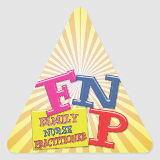 FNP WHIMSICAL ACRONYM FAMILY NURSE PRACTITIONER TRIANGLE STICKERS