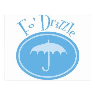 Fo' Drizzle Retro Umbrella - Blue Postcard