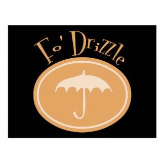 Fo' Drizzle Retro Umbrella - Orange Postcard