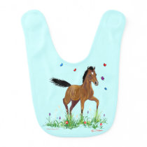 Foal and Butterflies Baby Bib