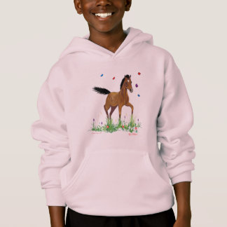Foal and Butterflies Equestrian Hooded Sweatshirt