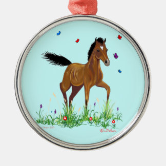 Foal and Butterflies Holiday Ornament