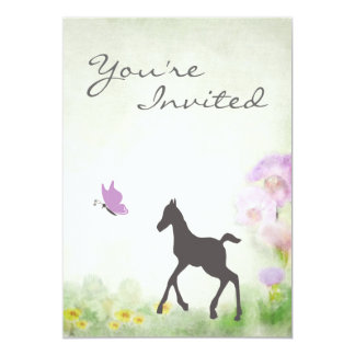 Foal and Butterfly Horse Baby Shower Invitation