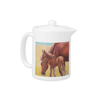 Foal and Mare Horse Art Teapot