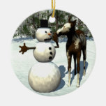 Foal and Snowman Ceramic Christmas Ornament