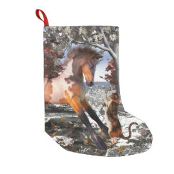 Foal & Kitty Christmas Holiday Stocking Small Christmas Stocking