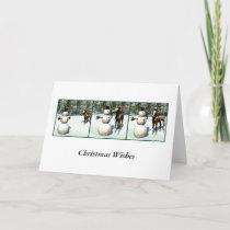 Foal & Snowman Christmas Card