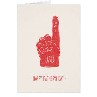 Foam Finger Father's Day Card - Red
