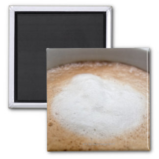 Foam on cappuccino, close-up 2 inch square magnet