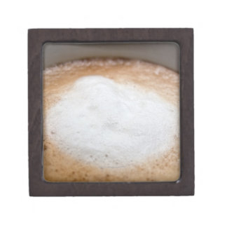 Foam on cappuccino, close-up gift box