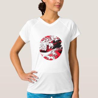 Foam red, comic screen, tee-shirt woman, collar V T-Shirt
