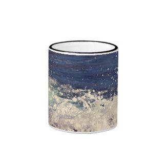 Foam Themed, Waves Of White Water Crash Against Ro Ringer Coffee Mug