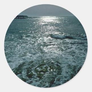Foaming Sea Round Stickers