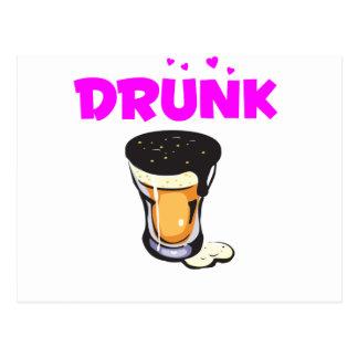 Foamy Beer Drunk Glass Postcard