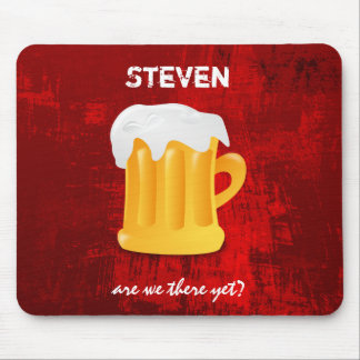 Foamy Beer Mug on Grunge Red Abstract Background Mouse Pad