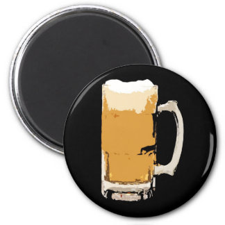 Foamy Mug Of Beer Pop Art 2 Inch Round Magnet