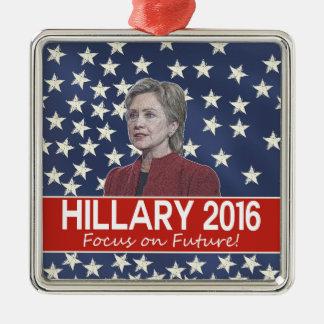Foco de Hillary el futuro Adorno Navideño Cuadrado De Metal