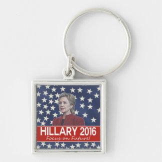 Foco de Hillary el futuro Llavero Cuadrado Plateado
