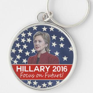 Foco de Hillary el futuro Llavero Redondo Plateado